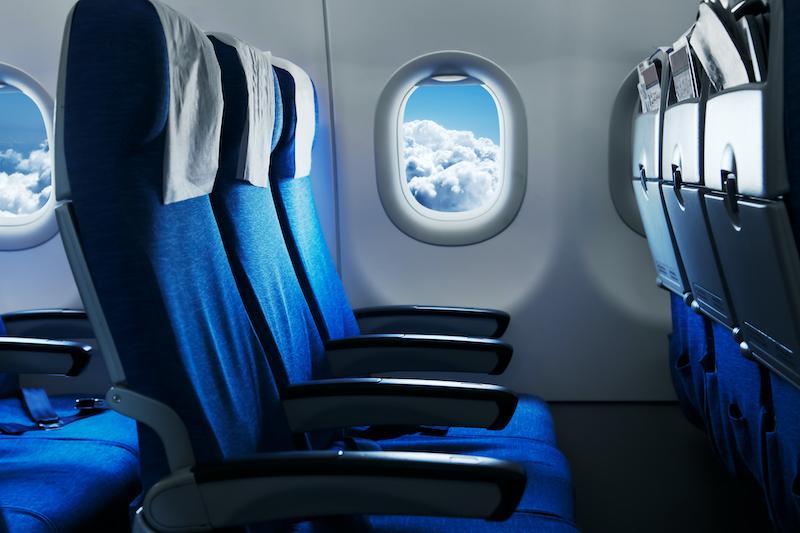 Interior do avião em Las Vegas